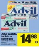 Advil Caplets - Tablets Or Liquid Gels - 40-115's