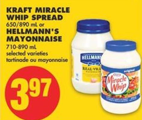 Kraft Miracle Whip Spread - 650/890 mL or Hellmann's Mayonnaise - 710-890 mL