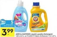Arm & Hammer Liquid Laundry Detergent 1.81-2.21 L or Fleecy Fabric Enhancer 1.3-1.47 L - 5 Air Miles Bonus Miles