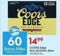 Coors Edge Non-alcoholic Beer 12x355 mL  60 Air Miles Bonus Miles