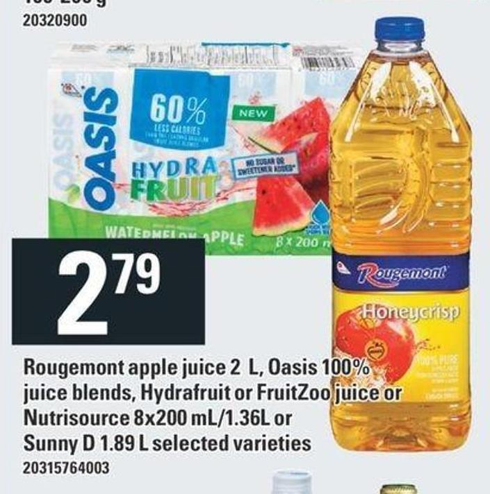 Rougemont Apple Juice 2 L - Oasis 100% Juice Blends - Hydrafruit Or Fruitzoo Juice Or Nutrisource 8x200 Ml/1.36l Or Sunny D 1.89 L