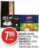 Mccafé Ground Coffee (300g - 340g) - Timothy's or Van Houtte K-cups Coffee PODS