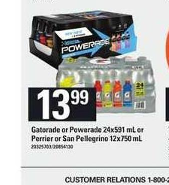 Gatorade Or Powerade - 24x591 mL or Perrier Or San Pellegrino - 12x750 mL