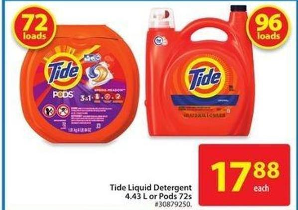 Tide Liquid Detergent 4.43 L or Pods 72 s