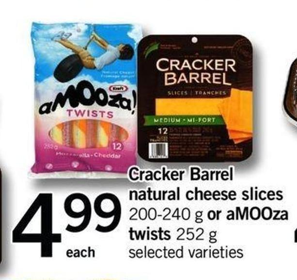 Cracker Barrel Natural Cheese Slices - 200-240 G Or Amooza Twists - 252 G