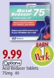 Option+ Acid Reducer Tablets 75mg  40