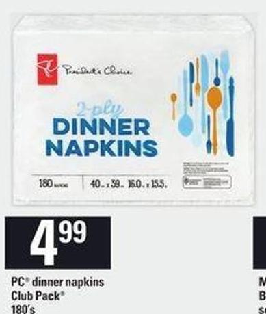 PC Dinner Napkins Club Pack 180's