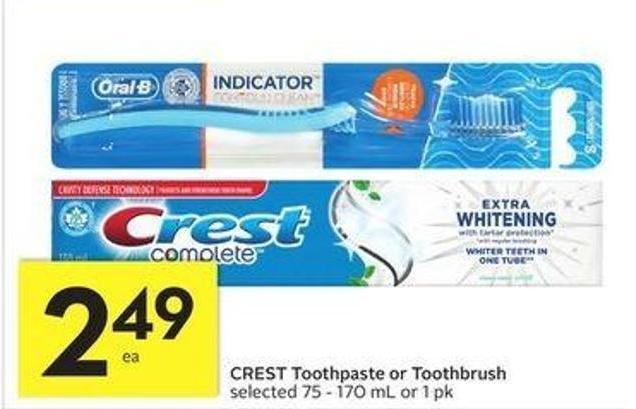 Crest Toothpaste or Toothbrush