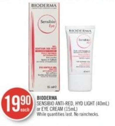 Bioderma Sensibio Anti-red - Hyd Light (40ml) or Eye Cream (15ml)