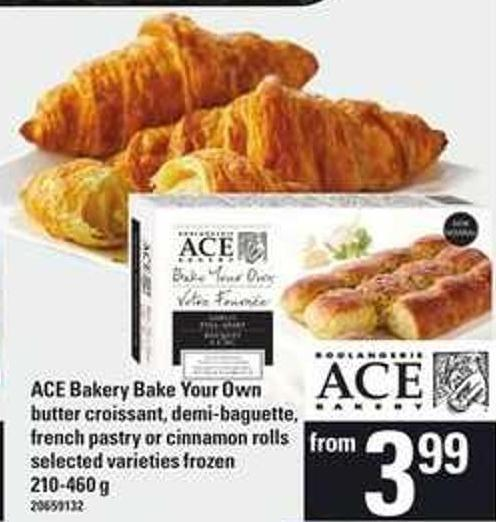 Ace Bakery Bake Your Own Butter Croissant - Demi-baguette - French Pastry Or Cinnamon Rolls - 210-460 g
