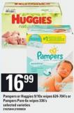 Pampers Or Huggies 9/10x Wipes 624-704's Or Pampers Pure 6x Wipes 336's