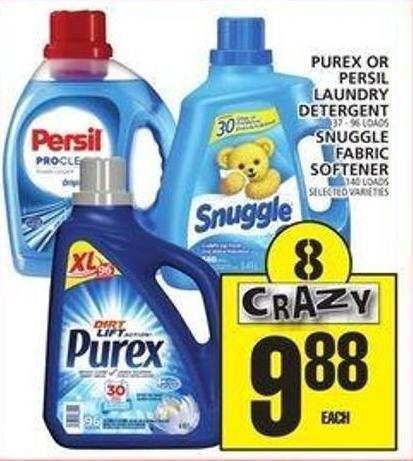 Purex Or Persil Laundry Detergent Or Snuggle Fabric Softener