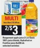 Rougemont Apple Juice - 2 L Or Oasis 100% Juice Blends - Hydrafruit Or Fruitzoo Juice - 8x200 mL