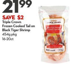 Triple Crown Frozen Cooked Tail On Black Tiger Shrimp 454g Pkg 16-20ct