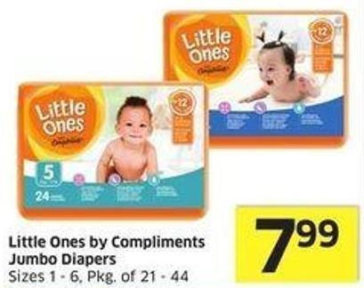 Little Ones By Compliments Jumbo Diapers Sizes 1 - 6 - Pkg of 21 - 44