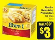 Fibre 1 or Nature Valley Premium Bars 125-210 g Barres