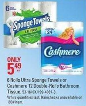 6 Rolls Ultra Sponge Towels or Cashmere 12 Double-rolls Bathroom Tissue