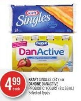 Kraft Singles (24's) or Danone Danactive Probiotic Yogurt (8 X 93ml)