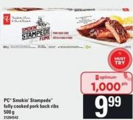 PC Smokin' Stampede Fully Cooked Pork Back Ribs - 500 G