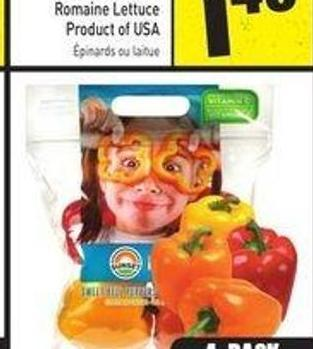 4 Pack Sweet Bell Peppers Product of Ontario or Mexico 4 Pack