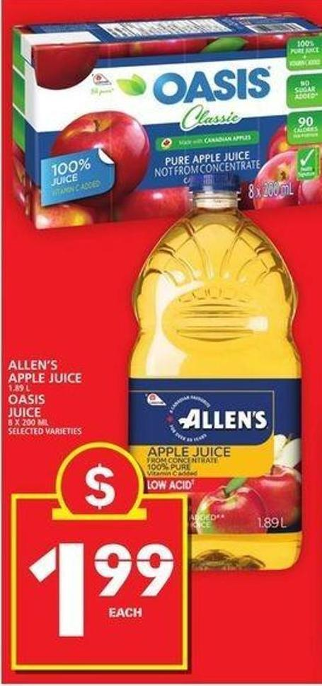 Allen's Apple Juice Or Oasis Juice