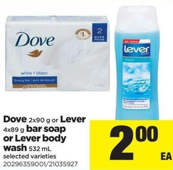 Dove - 2x90 G Or Lever - 4x89 G Bar Soap Or Lever Body Wash - 532 Ml