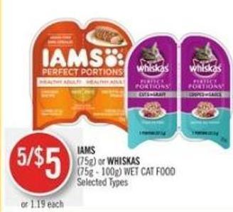 Iams (75g) or Whiskas (75g - 100g) Wet Cat Food