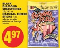 Black Diamond Cheestrings - 12/16's or Natural Cheese Sticks - 12's