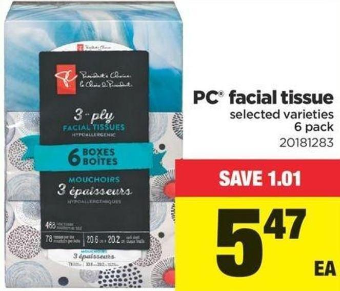 PC Facial Tissue - 6 Pack