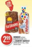 Wonder Hotdog - Hamburger Buns (12's) or Country Harvest Grains Bread (570g - 600g)