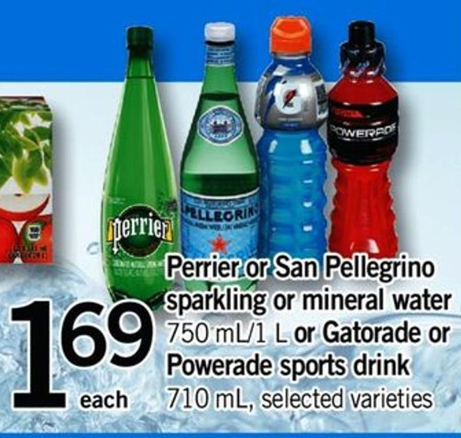 Perrier Or San Pellegrino Sparkling Or Mineral Water 750 Ml/1 L Or Gatorade Or Powerade Sports Drink 710 Ml