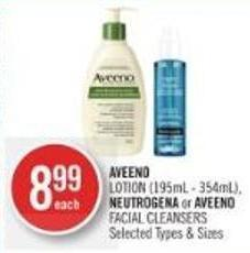 Aveeno Lotion (195ml - 354ml) - Neutrogena or Aveeno Facial Cleansers