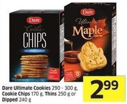 Dare Ultimate Cookies 290 - 300 g - Cookie Chips 170 g - Thins 250 g or Dipped 240 g