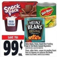 Heinz Beans - Pasta - Snack Pack Pudding Cups Or Del Monte Canned Vegetables