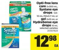 Opti-free Lens Care - 2x300 Ml - Systane Eye Drops - 1x5- 10 Ml/30x0.7 Ml Or Gel - 2x10 Ml Or Hydrasense Eye Drops - 10 Ml