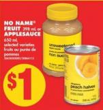 No Name Fruit 398 mL or Applesauce 650 mL