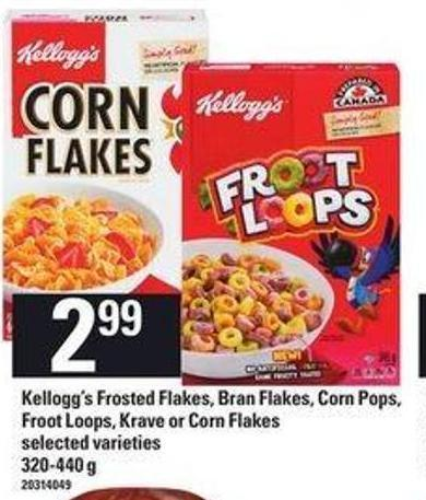 Kellogg's Frosted Flakes - Bran Flakes - Corn Pop Froot Loops - Krave Or Corn Flakes - 320-440 g