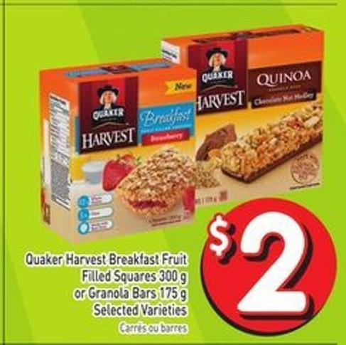 Quaker Harvest Breakfast Fruit Filled Squares 300 g or Granola Bars 175 g Selected Varieties