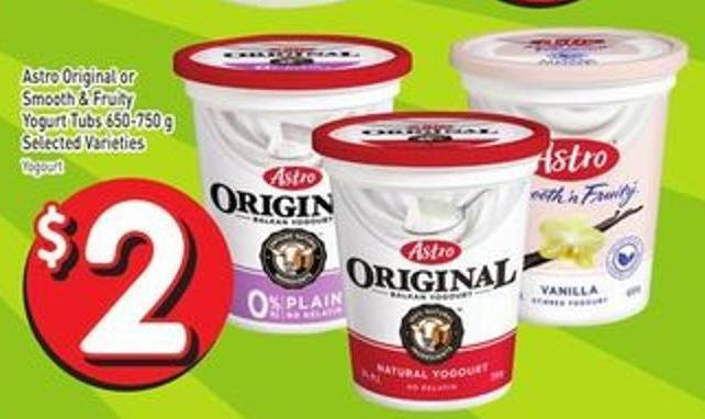 Astro Original or Smooth & Fruity Yogurt Tubs 650-750 g Selected Varieties