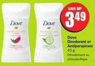 Dove Deodorant or Antiperspirant 45 g