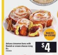 Deluxe Cinnamon Buns With Danish Or Cream Cheese Icing - 8's