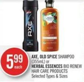 Axe - Old Spice Shampoo (355ml) or Herbal Essences Bio Renew Hair Care Products