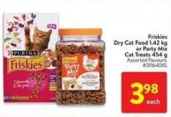 Friskies Dry Cat Food 1.42 Kg or Party Mix Cat Treats 454 g