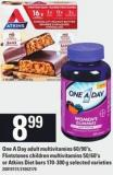 One A Day Adult Multivitamins 60/90's - Flintstones Children Multivitamins 50/60's Or Atkins Diet Bars 170-300 G