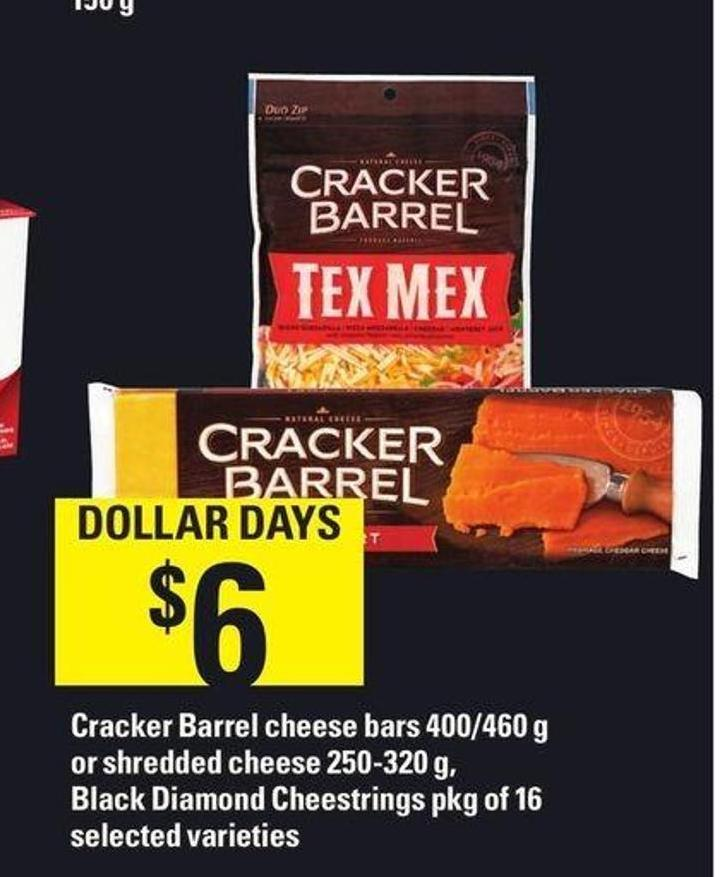 Cracker Barrel Cheese Bars 400/460 G Or Shredded Cheese 250-320 G - Black Diamond Cheestrings - Pkg Of 16