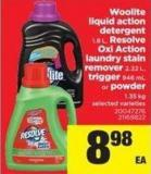 Woolite Liquid Action Detergent 1.8 L - Resolve Oxi Action Laundry Stain Remover 2.22 L - Trigger 946 Ml Or Powder 1.35 Kg