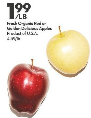 Fresh Organic Red or  Golden Delicious Apples