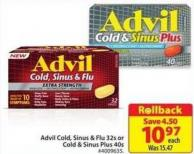 Advil Cold - Sinus & Flu 32s or Cold & Sinus Plus 40s