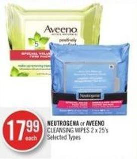 Neutrogena or Aveeno Cleansing Wipes 2 X 25's