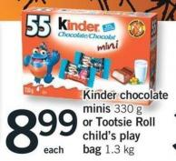 Kinder Chocolate Minis - 330 G Or Tootsie Roll Child's Play Bag - 1.3 Kg
